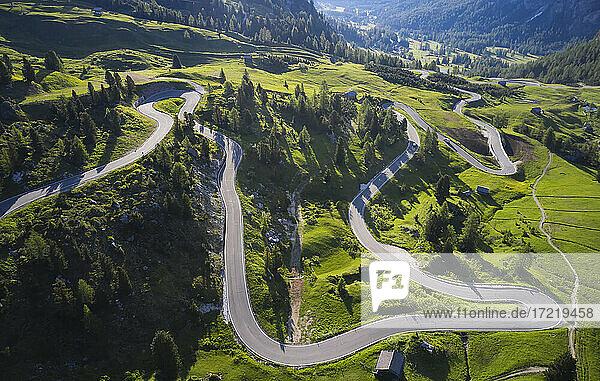Italy  South Tirol  Aerial view of Gardena Pass