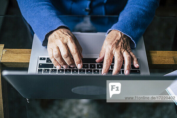 Female senior professional using laptop at home office