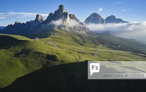 Italy  South Tirol  Aerial view of Giau Pass