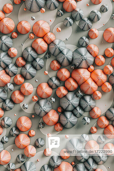 Three dimensional render of red and gray cones laid on polka dot pattern
