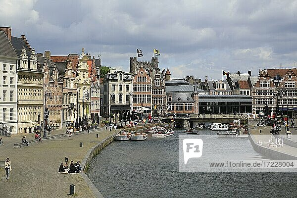 View from Michalsbridge Sint Michielsbrug to river Leie  houses at the Korenlei and moated castle Gravensteen  Old Town  Ghent  East Flanders  Belgium  Europe