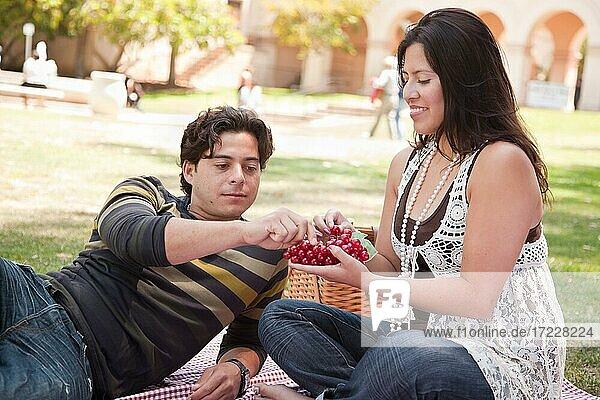 Attraktives hispanisches Paar mit einem Picknick im Freien im Park