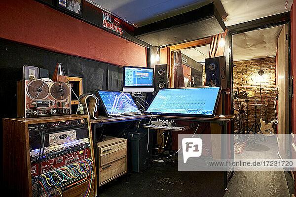 Interior of music recording studio
