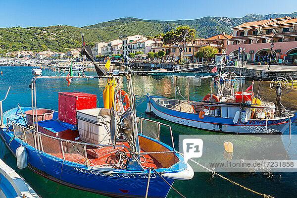 Fishing boats moored in the harbour  Marciana Marina  Elba Island