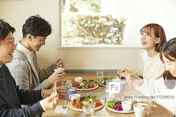 Young Japanese friends at a cafe