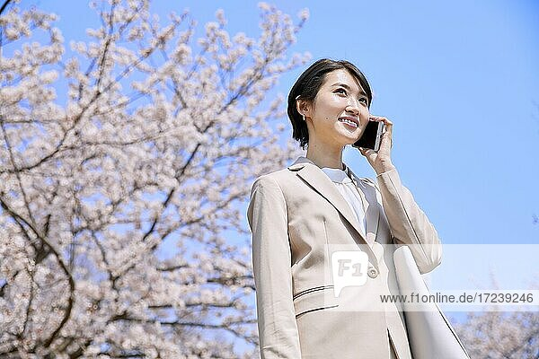 Young Japanese woman and cherry blossoms