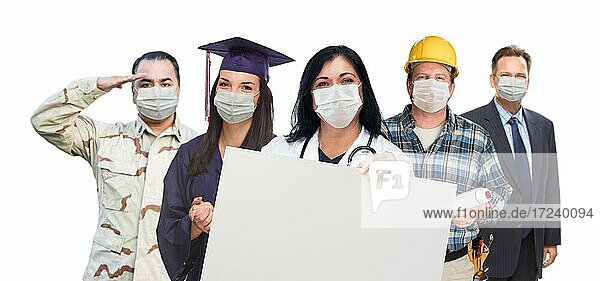 Variety of people in different occupations wearing medical face masks holding blank sign amidst the coronavirus pandemic
