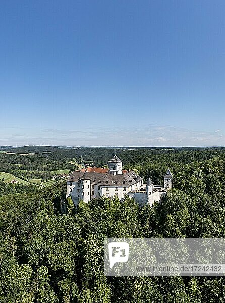 Aerial view  Greifenstein Castle  Heiligenstadt  Franconian Switzerland  Upper Franconia  Bavaria  Germany  Europe
