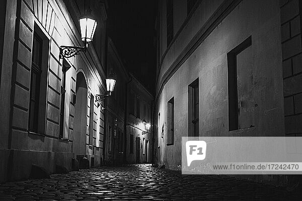 Dark street at night  Prague  Czechia
