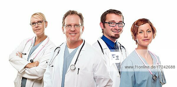 Group of doctors or nurses before a white background