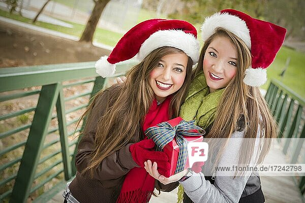 Two attractive festive smiling mixed-race women wearing christmas santa hats holding a wrapped gift with bow outside