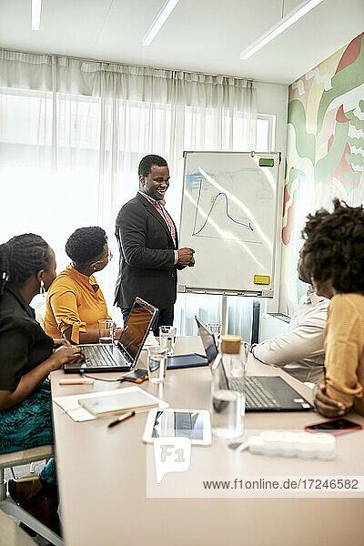 Lächelnder Geschäftsmann  der mit Kollegen an einem weißen Brett im Büro eine Geschäftsstrategie diskutiert