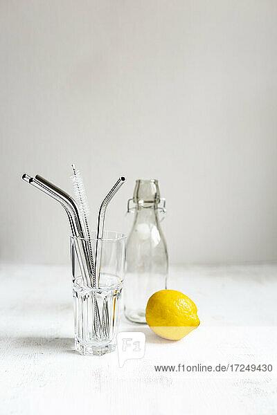 Wiederverwendbare Trinkhalme aus rostfreiem Stahl mit Glas und Zitrone auf weißem Hintergrund Wiederverwendbare Trinkhalme aus rostfreiem Stahl mit Glas und Zitrone auf weißem Hintergrund