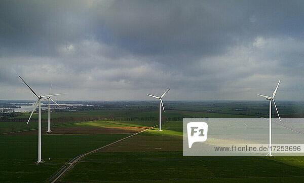 Nederland  Gelderland  Duiven  Aerial view of wind turbines in fields