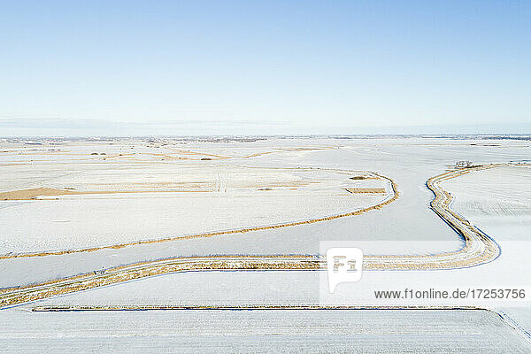 Netherlands  Broek  Aerial view of snow covered fields and canal