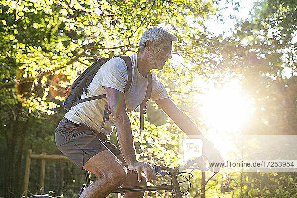 Smiling mature man cycling in forest
