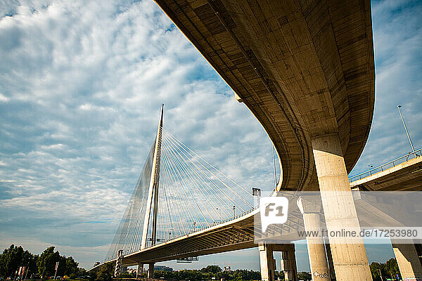 Low angle view of Ada Bridge in Belgrade city
