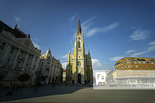 Low angle view of Roman Catholic Church of the Name of Mary in Liberty Square  Novi Sad