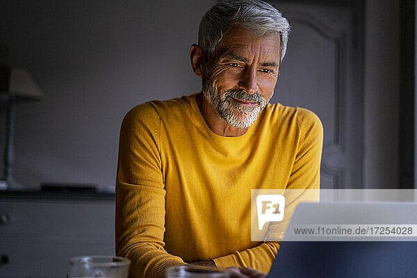 Smiling mature man using laptop at home