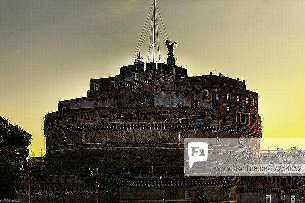 Exterior view of Castel Sant'Angelo at dusk  Rome