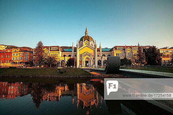 Reflection of The Academy of Fine Arts in Miljacka River  Sarajevo