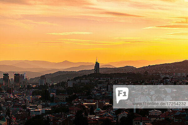 View of Sarajevo cityscape with mountains in background