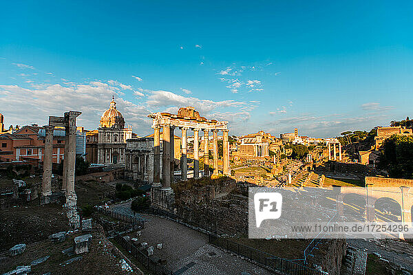 Elevated view of old ruins of Roman Forum  Rome
