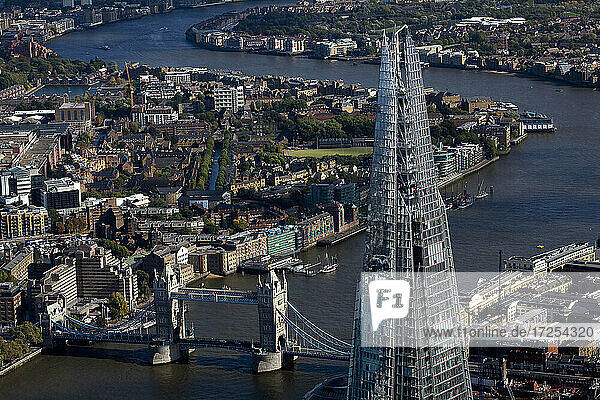 UK  London  Aerial view of the Shard and Tower Bridge