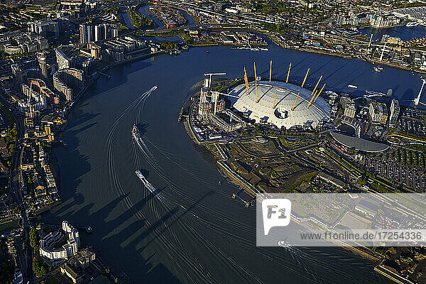 UK  London  Cityscape with O2 Millennium Dome and Thames river