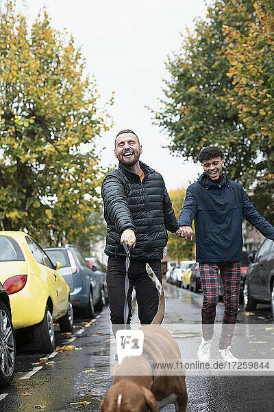 Glückliche Homosexuell männliches Paar zu Fuß Hund auf nassen Herbst Straße