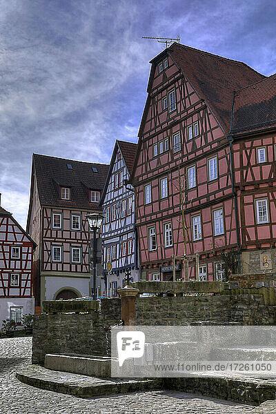 Hotel Sonne in der Langgasse beim ehemaligen bürgerlichen Hospiz in der Altstadt von Bad Wimpfen im Kraichgau  Landkreis Heilbronn  Baden-Württemberg  Süddeutschland  Deutschland  Europa.