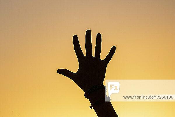 Silhouette der menschlichen Hand gegen Sonnenuntergang Himmel