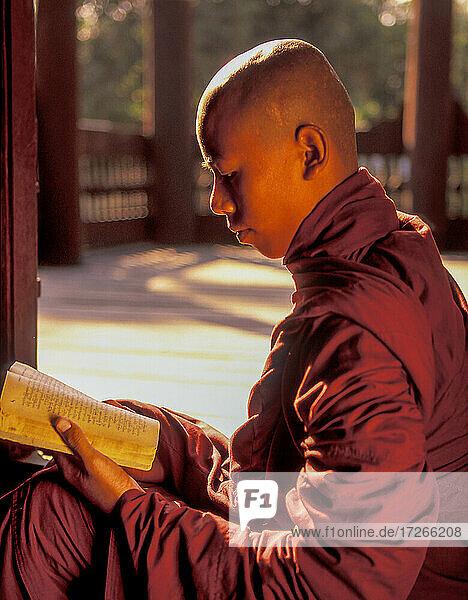 Myanmar  Mandalay  buddhistischer Mönch liest Gebetsbuch