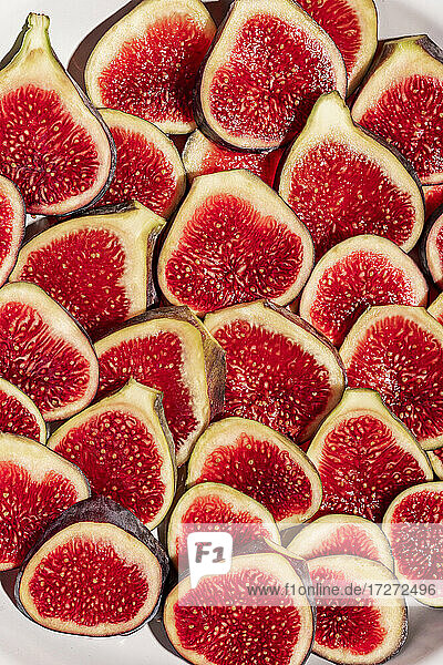 Close-up of fig slices arranged in plate