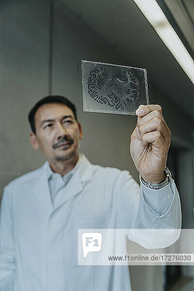 Scientist holding human brain glass sample while standing at clinic corridor
