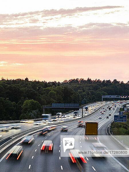 Germany  Baden-Wurttemberg  Stuttgart  Traffic on Bundesautobahn 8 at dusk