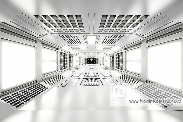 3D rendered illustration of empty illuminated white spaceship corridor
