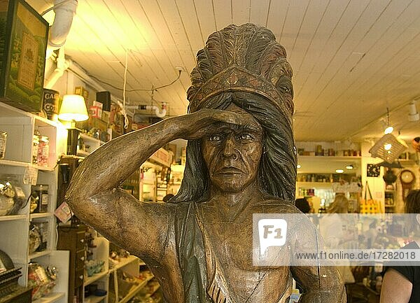 American Indian  statue  in the Shelburne Country Store  in Shelburne  Vermont  USA  North America
