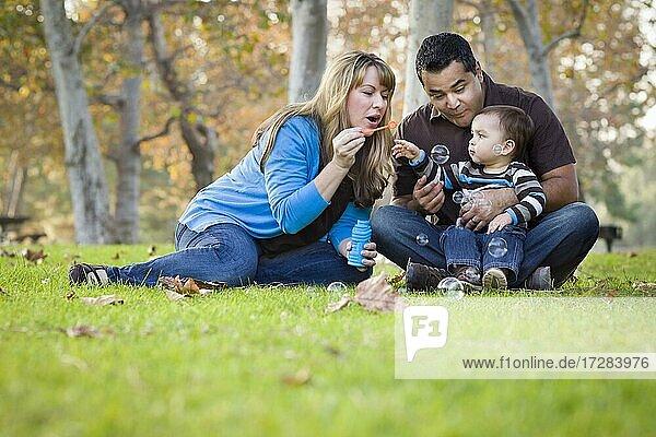 Glückliche junge gemischtrassige ethnische Familie spielt mit Blasen im Park
