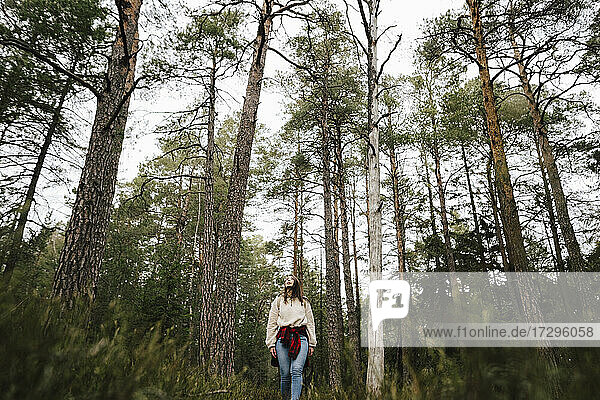 Young female explorer hiking amidst trees in forest