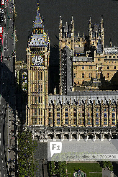 UK  London  Aerial view of Houses of Parliament and Elizabeth Tower