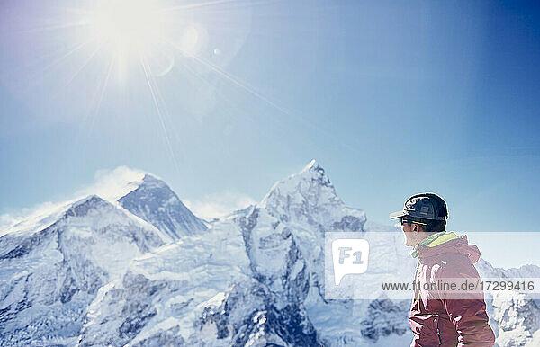 Mingma Sherpa admiring Mount Everest Summit