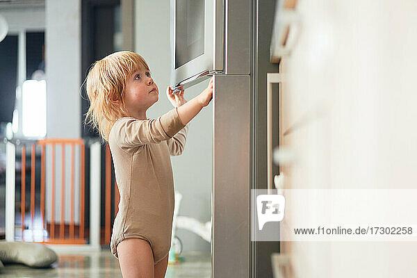 ginger boy looks into the fridge