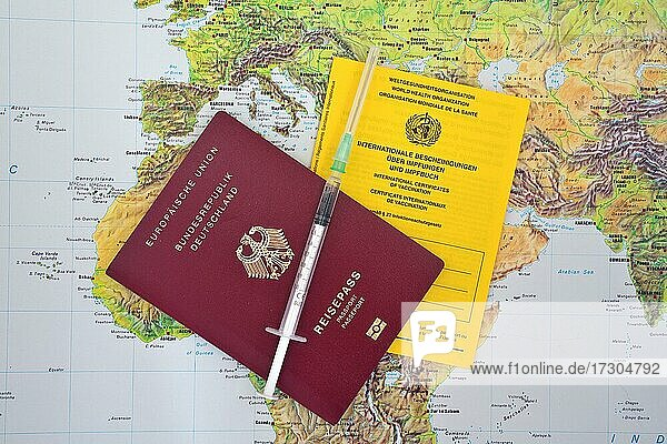 World map  European passport  syringe and vaccination card  Germany  Europe