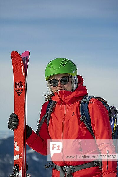Young woman with ski  Bavarian Prealps  Bavaria  Germany  Europe