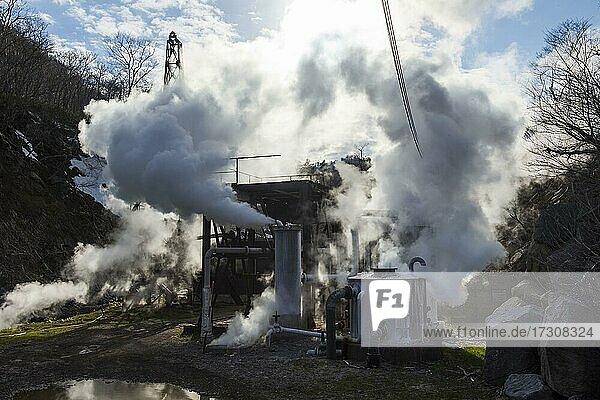 Geothermal plant  Unesco world heritage site Shiretoko National Park  Hokkaido  Japan  Asia