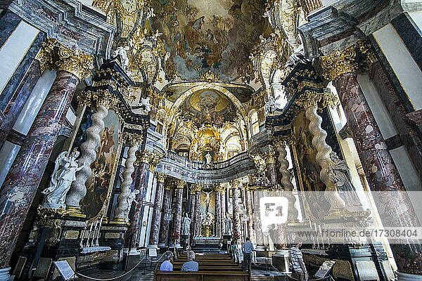 Interior of the Residence Hofkirche in the The Würzburg Residence  a UNESCO World Heritage Site  Wuerzburg  Franconia  Bavaria  Germany  Europe