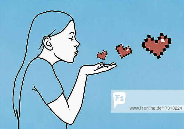 Frau bläst Pixel Herz Kuss
