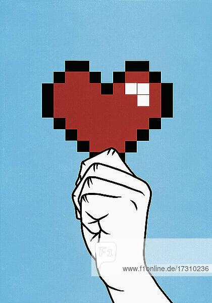 Nahaufnahme Hand hält verpixeltes Herz