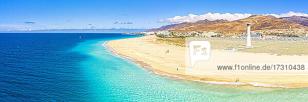 Aerial view of the white sand beach and lighthouse of Morro Jable  Fuerteventura  Canary Islands  Spain  Atlantic  Europe